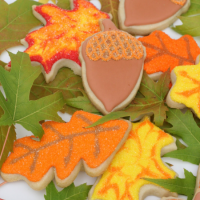 Fall Leaf and Acorn Cookies
