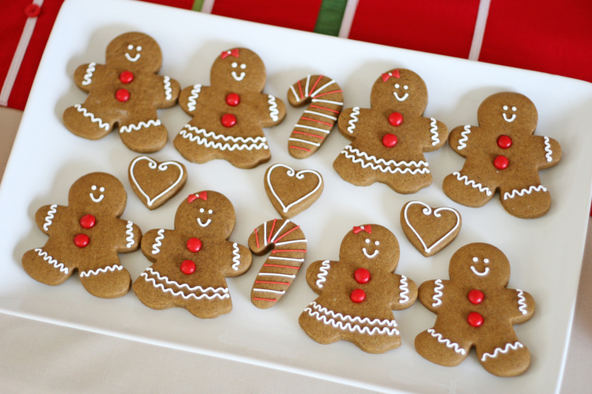 gingerbread cookies decorated on white tray