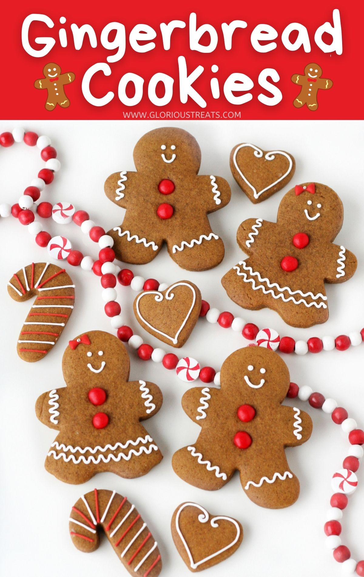 decorated gingerbread cookies with red garland and title and color block overlay at top of image