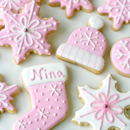 Pink Snowflake Cookies for a Winter Baby