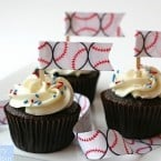 baseball ribbon cupcakes