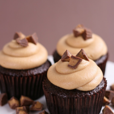 Chocolate cupcake with peanut butter frosting