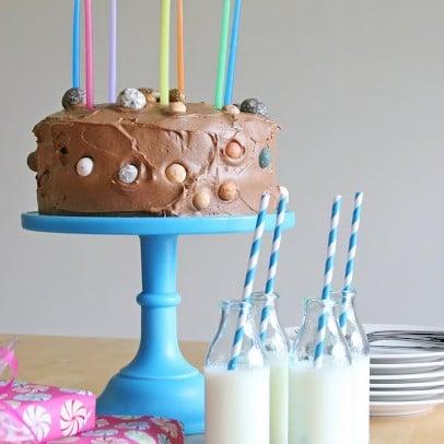 Chocolate cake with chocolate rocks