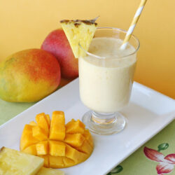 smoothie with pineapple slice