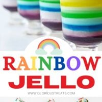 rainbow jello layered in tall glasses topped with whipped cream and center text overlay.