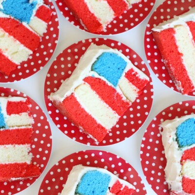 Flag cake slices on plates