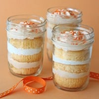 Orange Dreamsicle Cupcakes in a jar