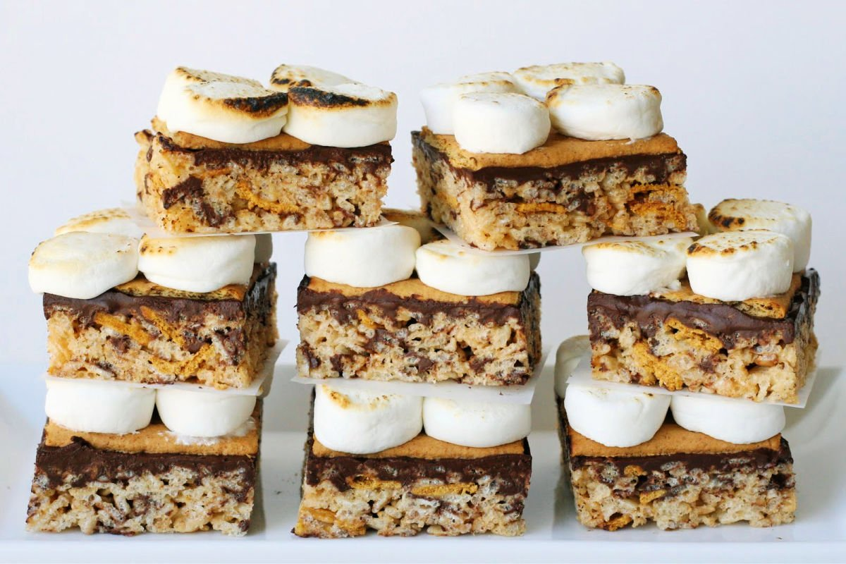 S'mores rice krispies treats stacked in a pyramid