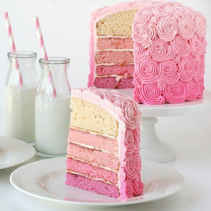Chocolate Cake With Pink An Blue Frosting