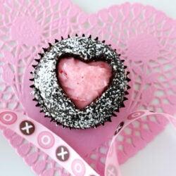 heart shaped chocolate cupcake