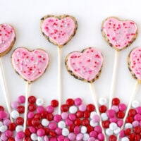 chocolate chip heart cookie pops in a row square