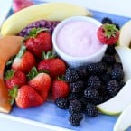 Beautiful fruit platter with dip