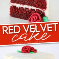 two image collage with slice of red velvet cake with fondant rose on white plate and whole cake pictured