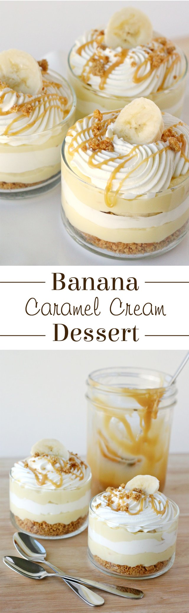The most AMAZING dessert ever!  Sweet, creamy, crunchy... this Banana Caramel Cream Dessert has it all!