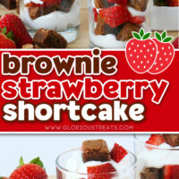 2 image collage of brownie strawberry shortcake layered in small glasses. center color block and text overlay.