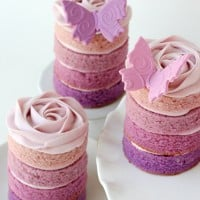 Ombre cakes with butterflies