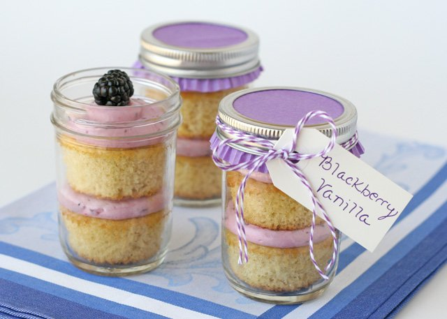 Blackberry Vanilla Cupcakes in a jar Glorious Treats