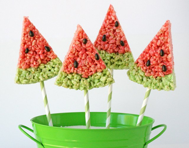 Rice Krispies Treat Watermelon Slices from Glorious Treats
