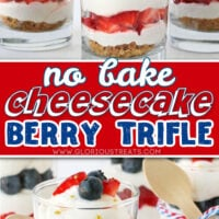 two image collage of no bake cheesecake trifle layered with berries and fresh whipped cream. center color block and text overlay.