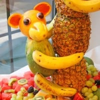 Monkey made out of fruit for a Luau party