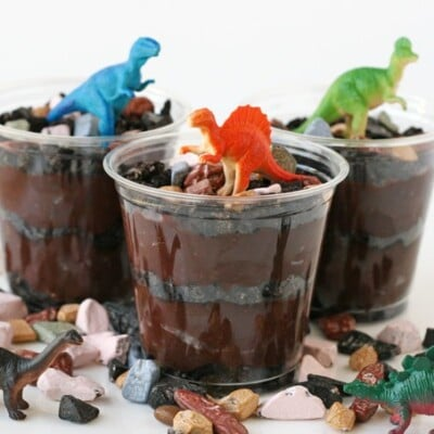 crushed Oreos and chocolate rocks topped with toy dinosaurs