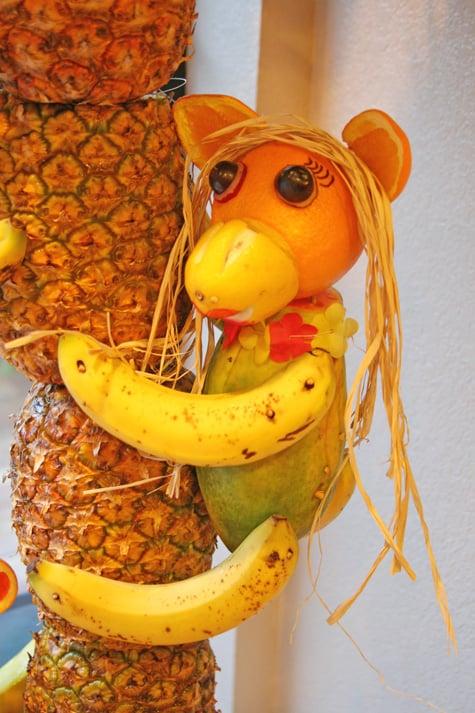 Pineapple Tree Centerpiece With Fruit Monkeys Glorious Treats Stunning Pineapple Tree Display Stand