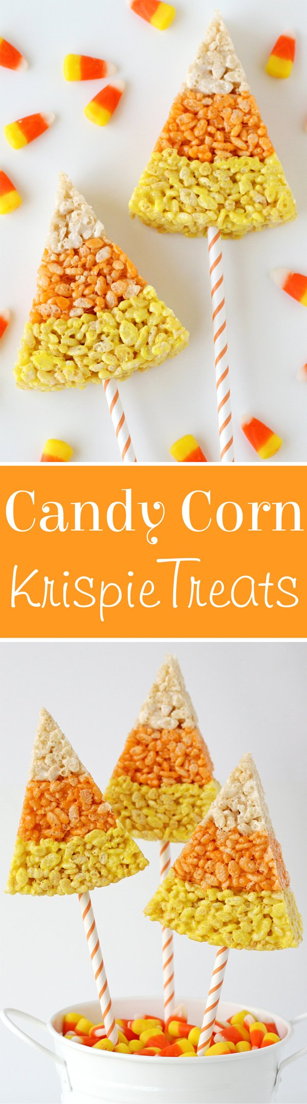 Cute and creative CANDY CORN KRISPIE TREATS!