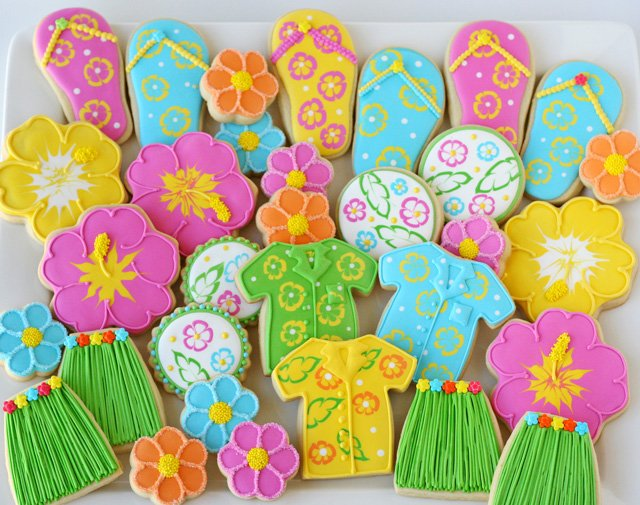 sugar cookies with tropical icing