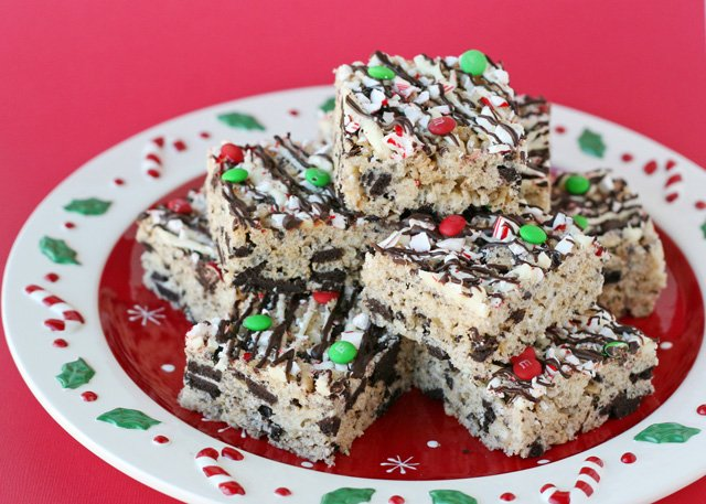 Rice Crispy Treat Christmas.Peppermint Oreo Krispie Treats
