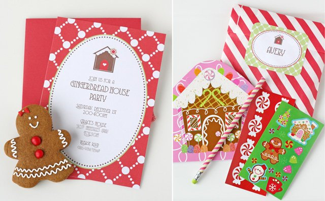 Gingerbread party invitations and favors