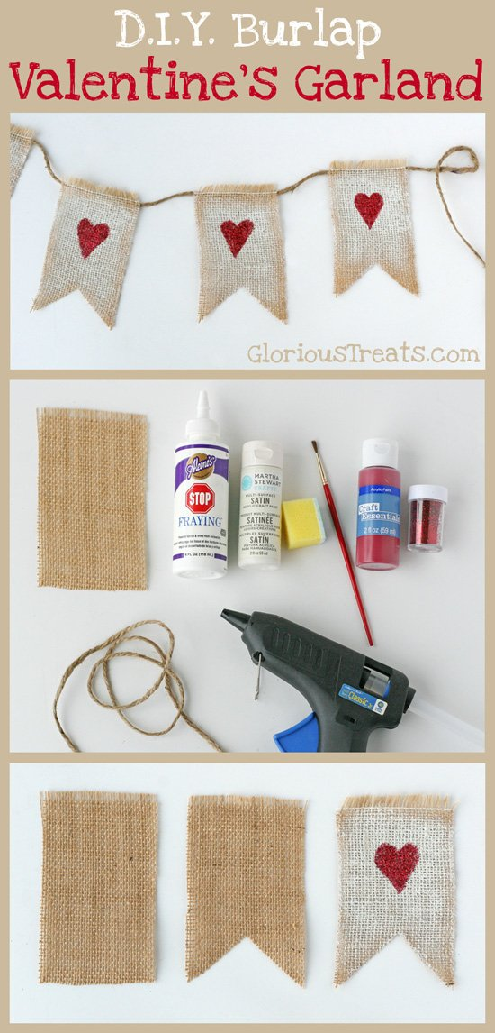 D.I.Y.} Burlap Valentine's Garland » Glorious Treats