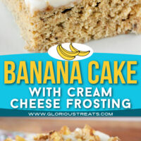 two image collage showing piece of banana cake topped with cream cheese frosting and toasted walnuts. color block in the center with text overlay.