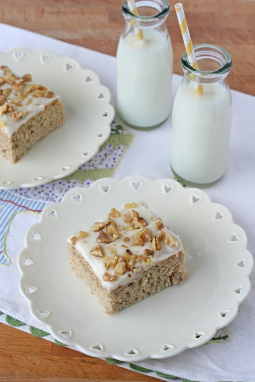 Banana Cake with Cream Cheese Frosting - by Glorious Treats