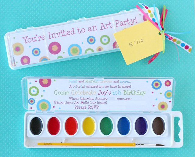 rainbow art birthday party – glorious treats, Birthday invitations