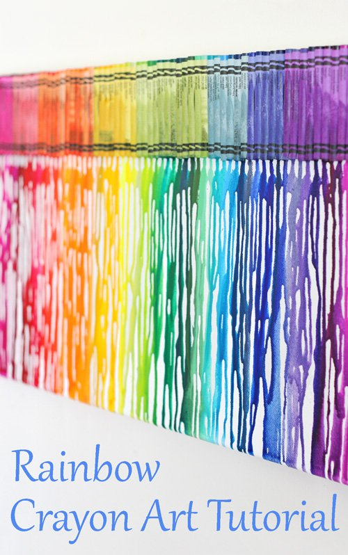 The best rainbow melted crayon art tutorial