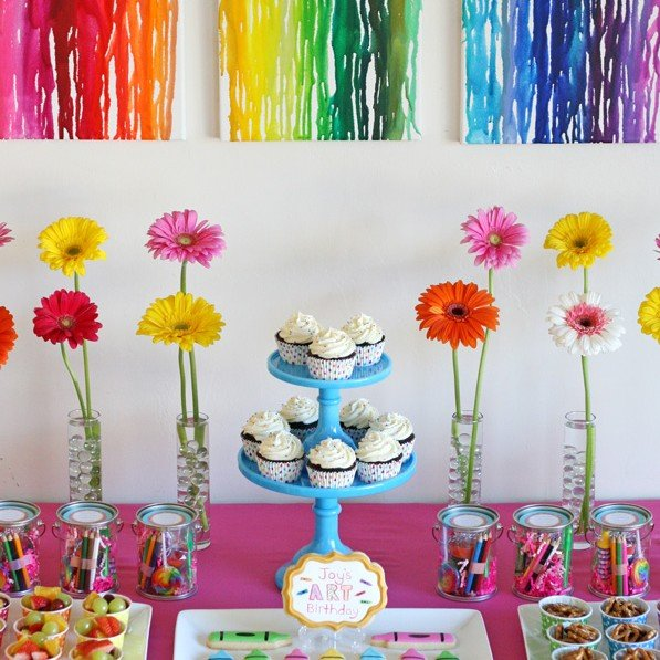 Rainbow Art Birthday Party – Glorious Treats