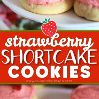 cookies with strawberry frosting and fresh strawberry half on top of each cookie. center color block and text overlay.