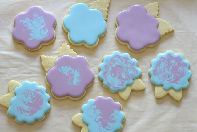 Blue and purple hydrangea cookies
