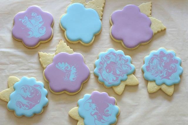Blue and purple hydrangea cookies