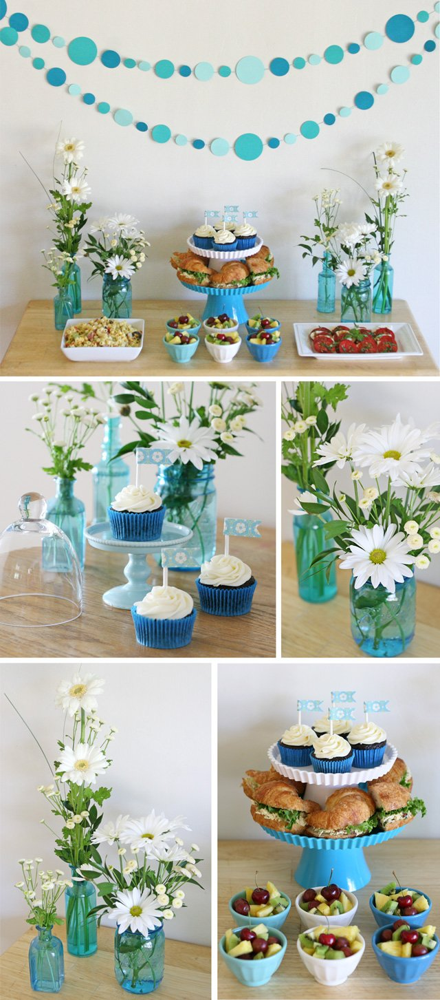 Blue and white party display {and easy menu ideas for entertaining at home} from glorioustreats.com
