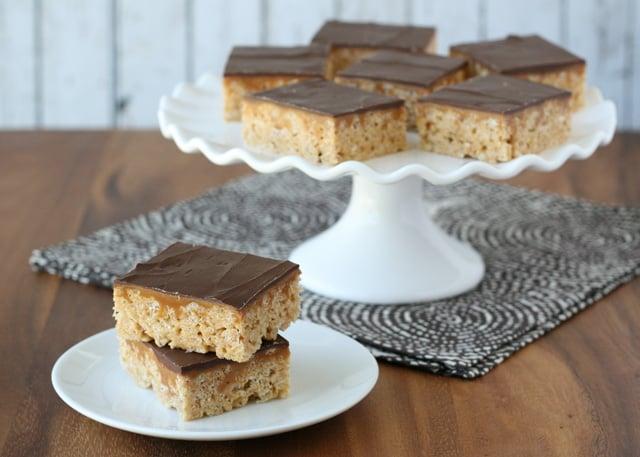 Chocolate Caramel Peanut Butter Rice Krispie Treats - by Glorious Treats