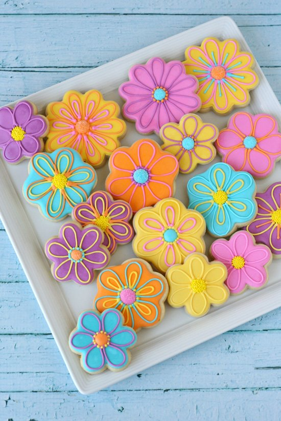 Pretty Decorated Flower Cookies - by Glorious Treats
