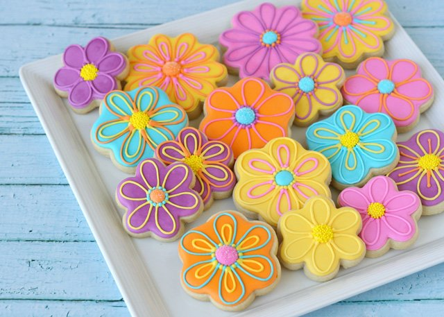 Pretty Flower Decorated Cookies - by Glorious Treats