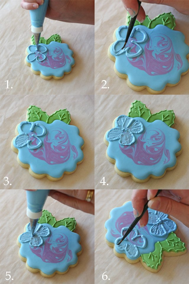 Decorating Hydrangea Cookies (step by step) - Glorious Treats