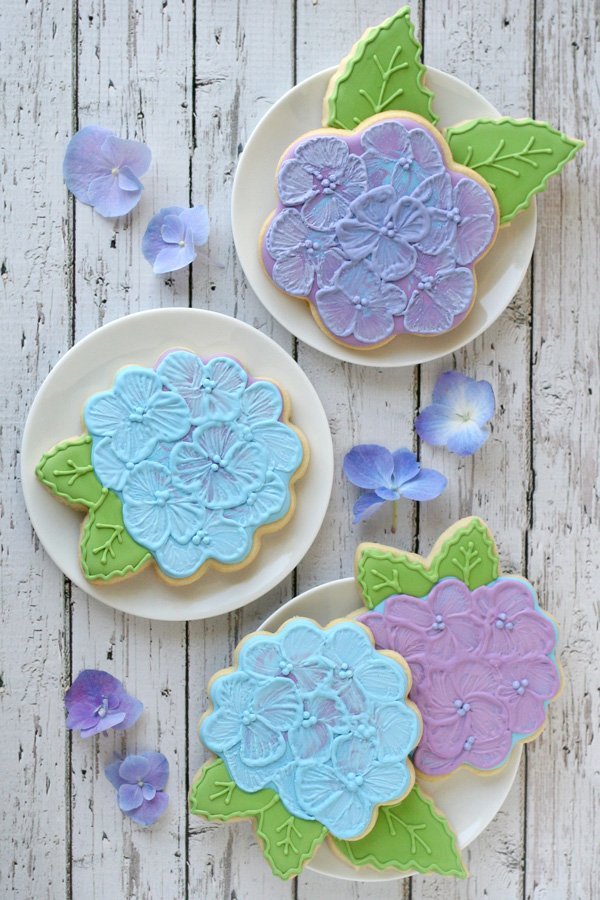 Hydrangea Decorated Cookies - by Glorious Treats