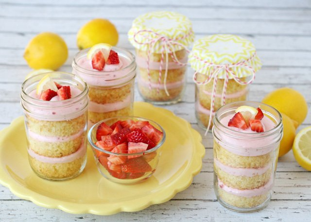 Strawberry Lemonade Cupcakes in a Jar - by Glorious Treats