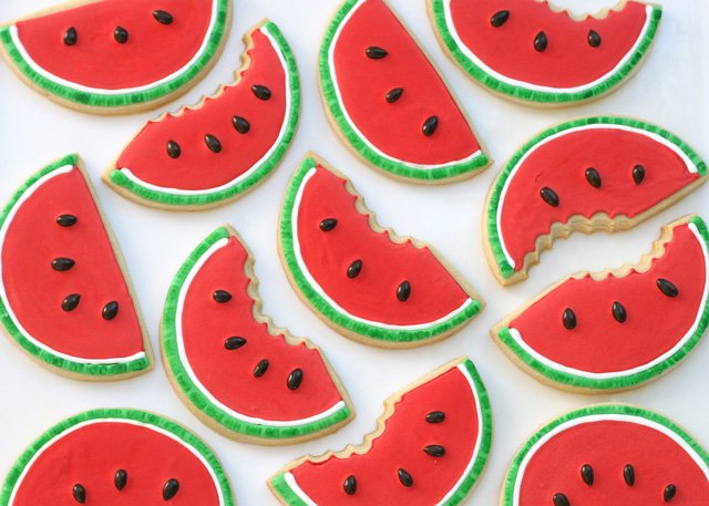 Watermelon Decorated Cookies - glorioustreats.com
