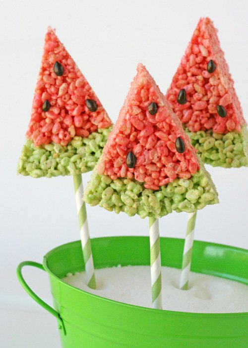 Watermelon Krispie Treats - by Glorious Treats