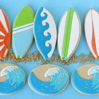 Wave and Surfboard Cookies - by Glorious Treats