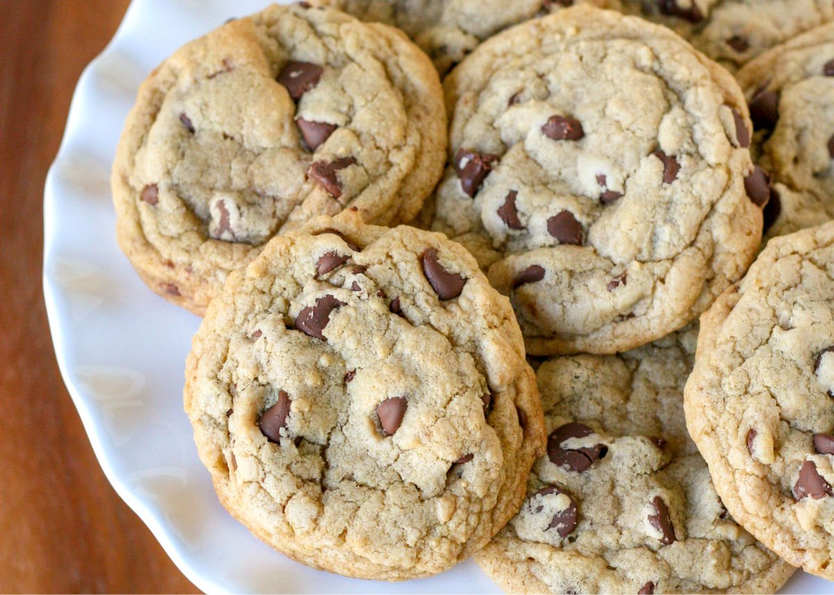 close up of plate of chocolate chip cookies